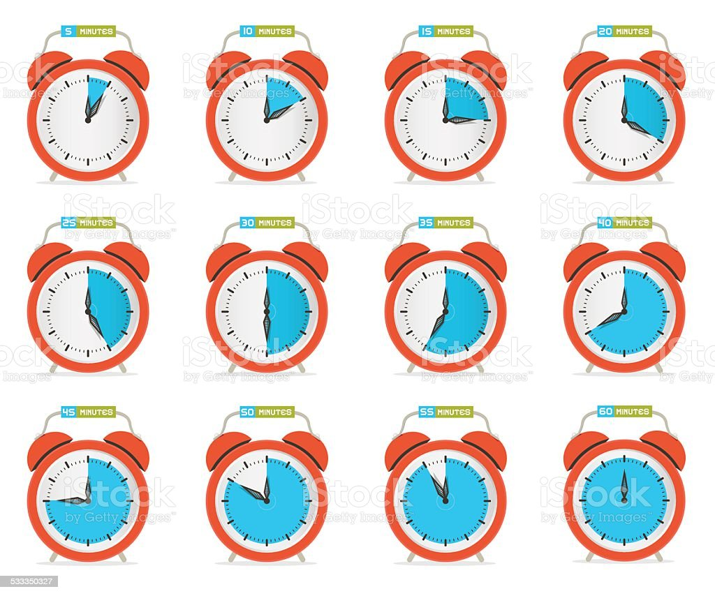 Alarm Clock - Time Countdown Vector Set vector art illustration