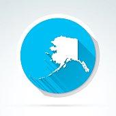 Alaska map icon, Flat Design, Long Shadow