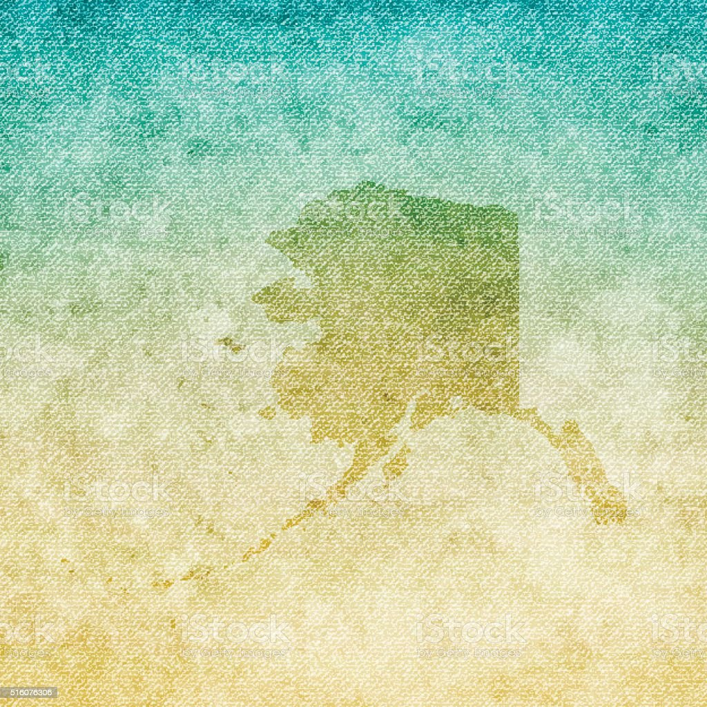 Alaska Map on grunge Canvas Background vector art illustration