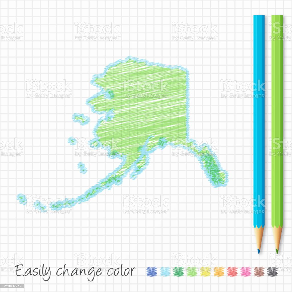 Alaska map sketch with color pencils, on grid paper vector art illustration