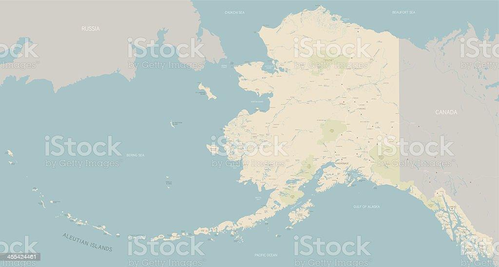 Alaska Map vector art illustration