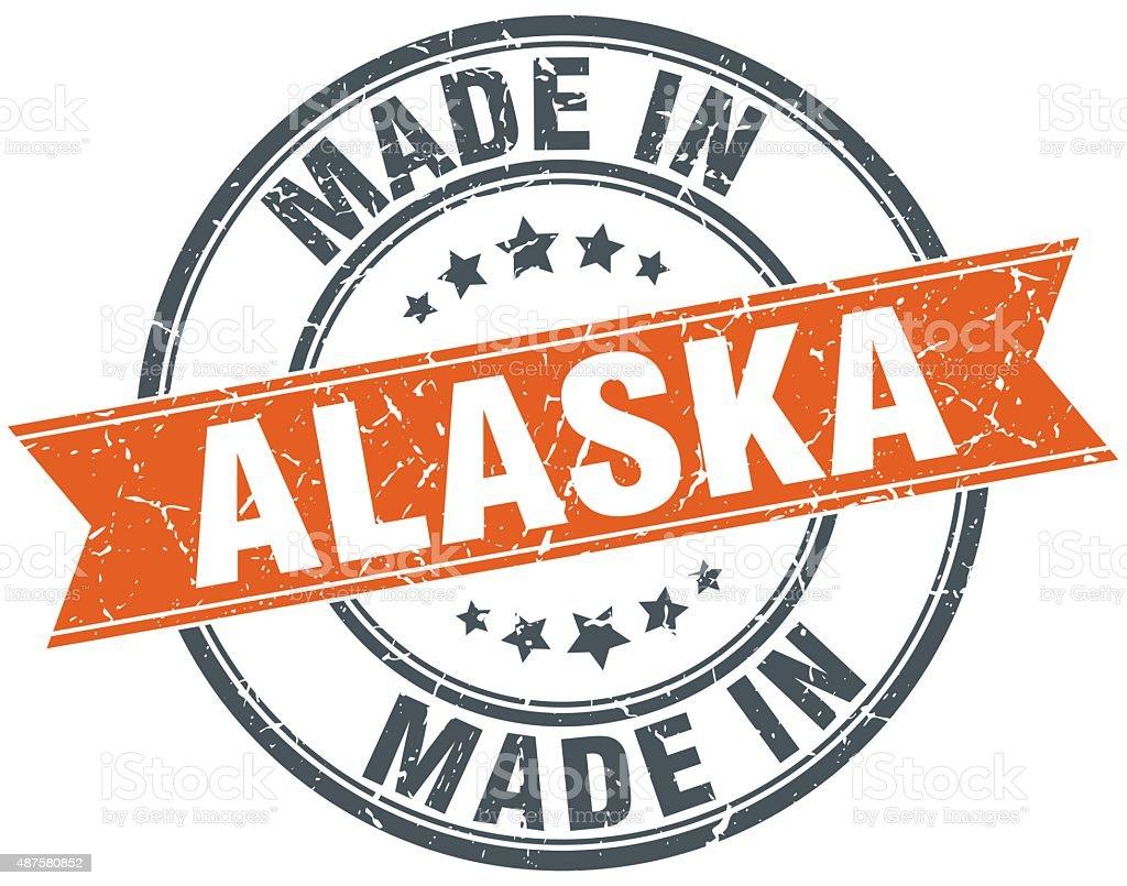 Alaska orange grunge ribbon stamp on white vector art illustration