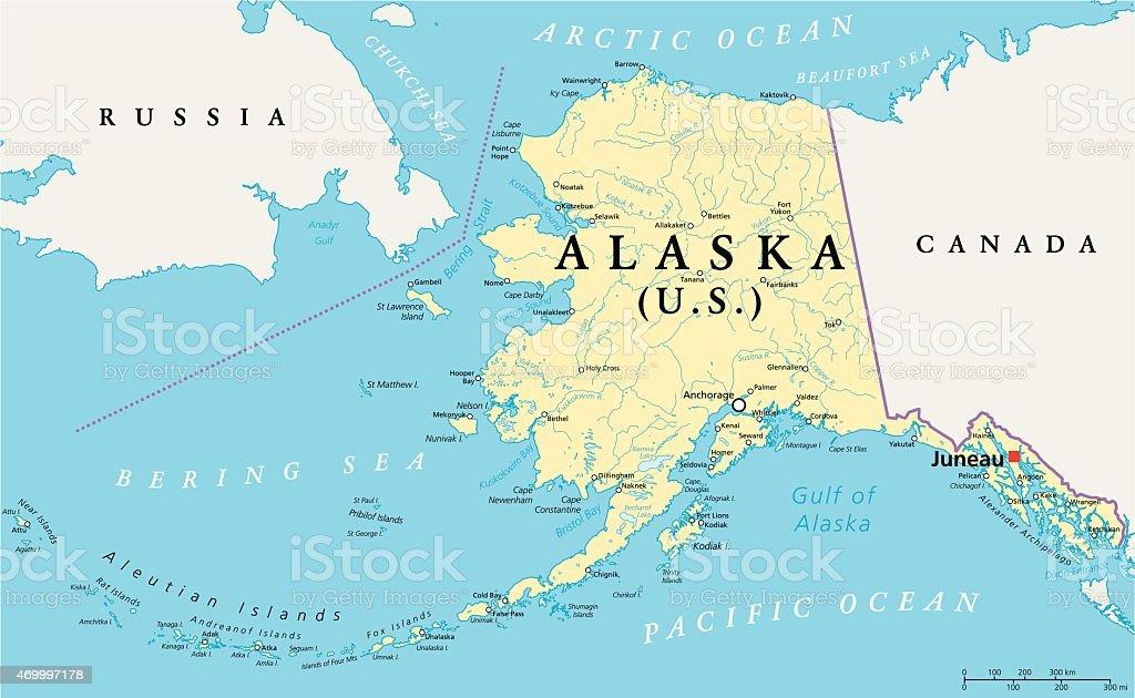 Alaska Political Map vector art illustration