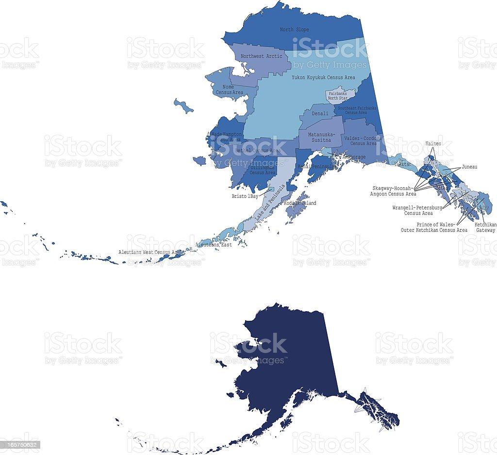 Alaska state & counties map royalty-free stock vector art