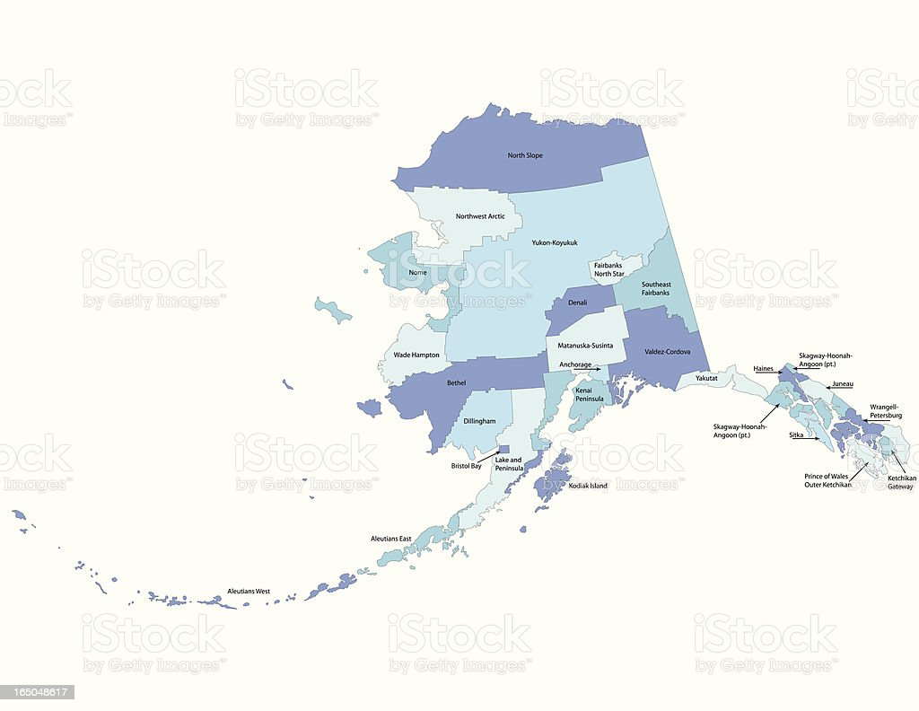 Alaska dillingham county - Alaska State County Map Royalty Free Stock Vector Art