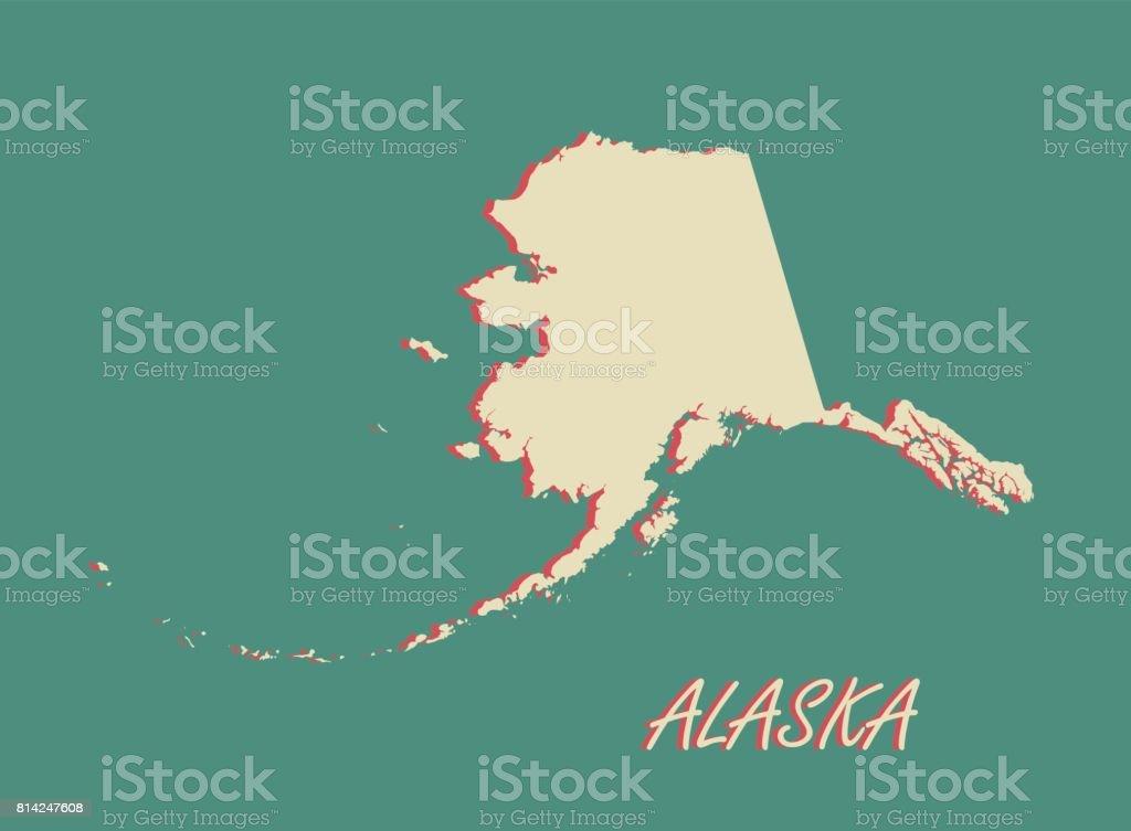 Alaska State Of Us Map Vector Outlines In A D Illustration - Us map alaska state
