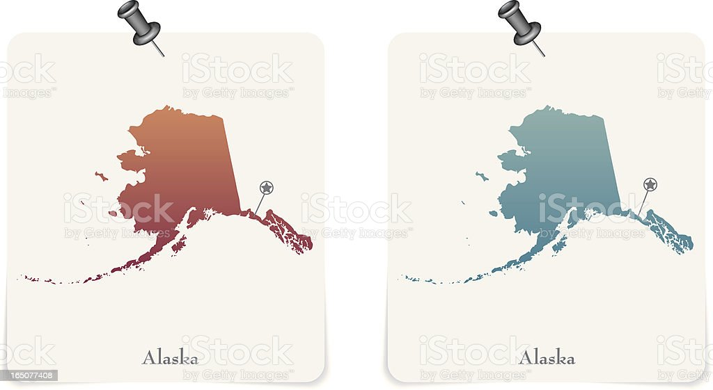 Alaska state red and blue cards royalty-free stock vector art