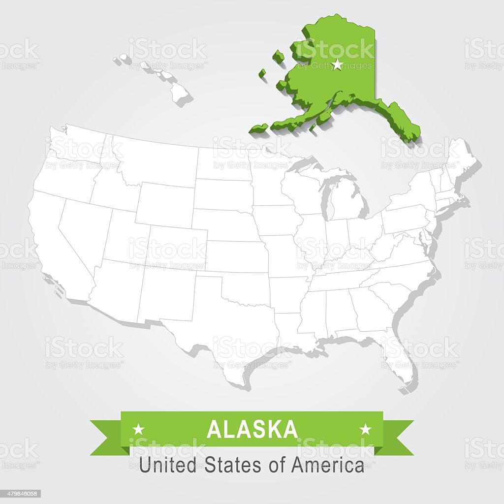 Alaska state. USA administrative map. vector art illustration