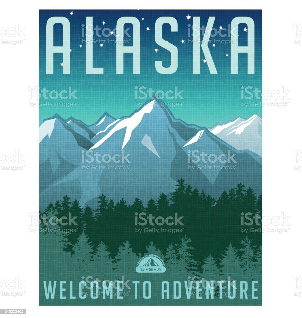 Alaska travel poster. Vector illustration of scenic snowy mountain landscape and the evening sky. vector art illustration