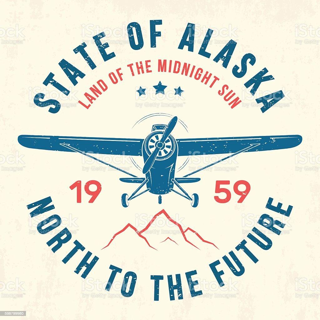 Alaska t-shirt design, print, typography, label with old airplane vector art illustration