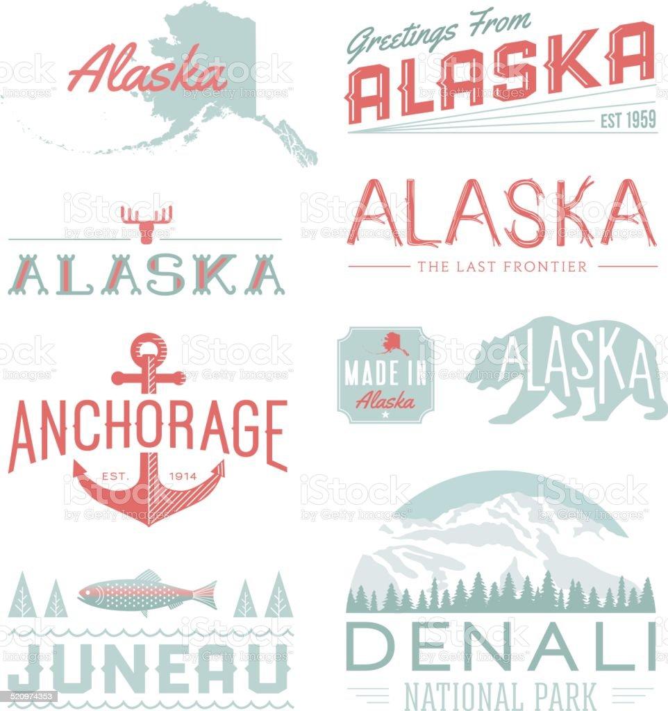 Alaska Typography vector art illustration