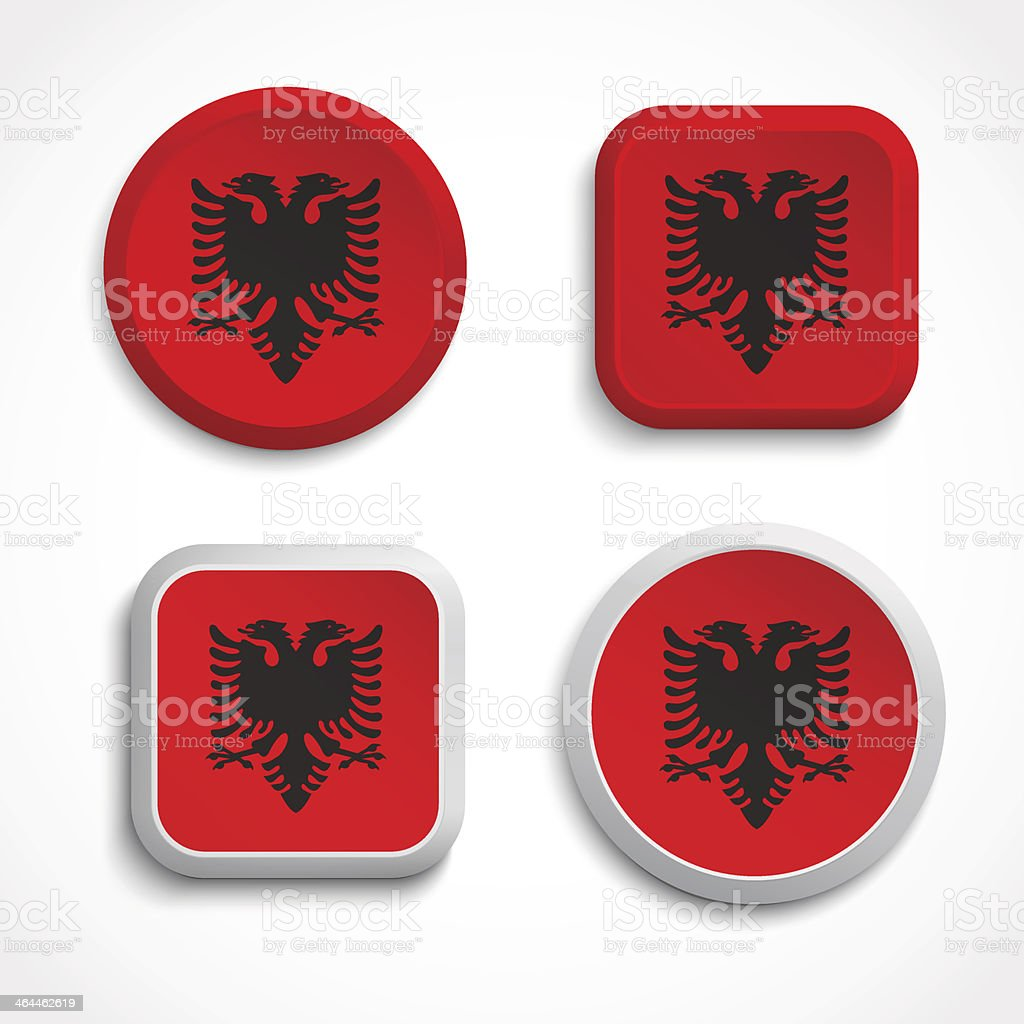 Albania flag buttons royalty-free stock vector art