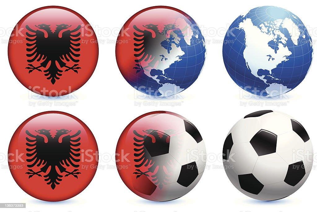 Albania Flag with Soccer ball and Globe royalty-free stock vector art