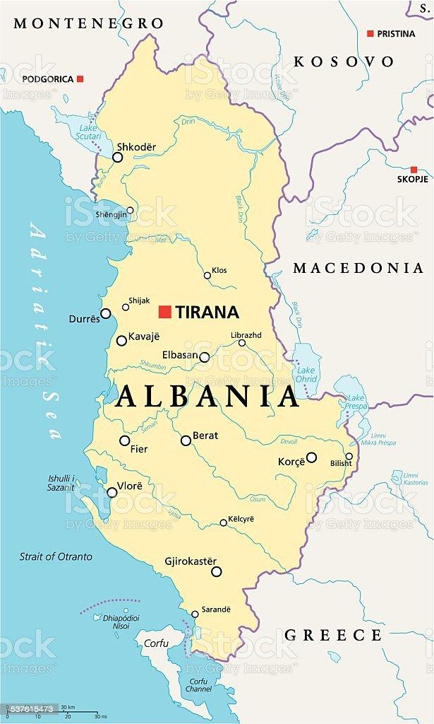 Albania Political Map vector art illustration