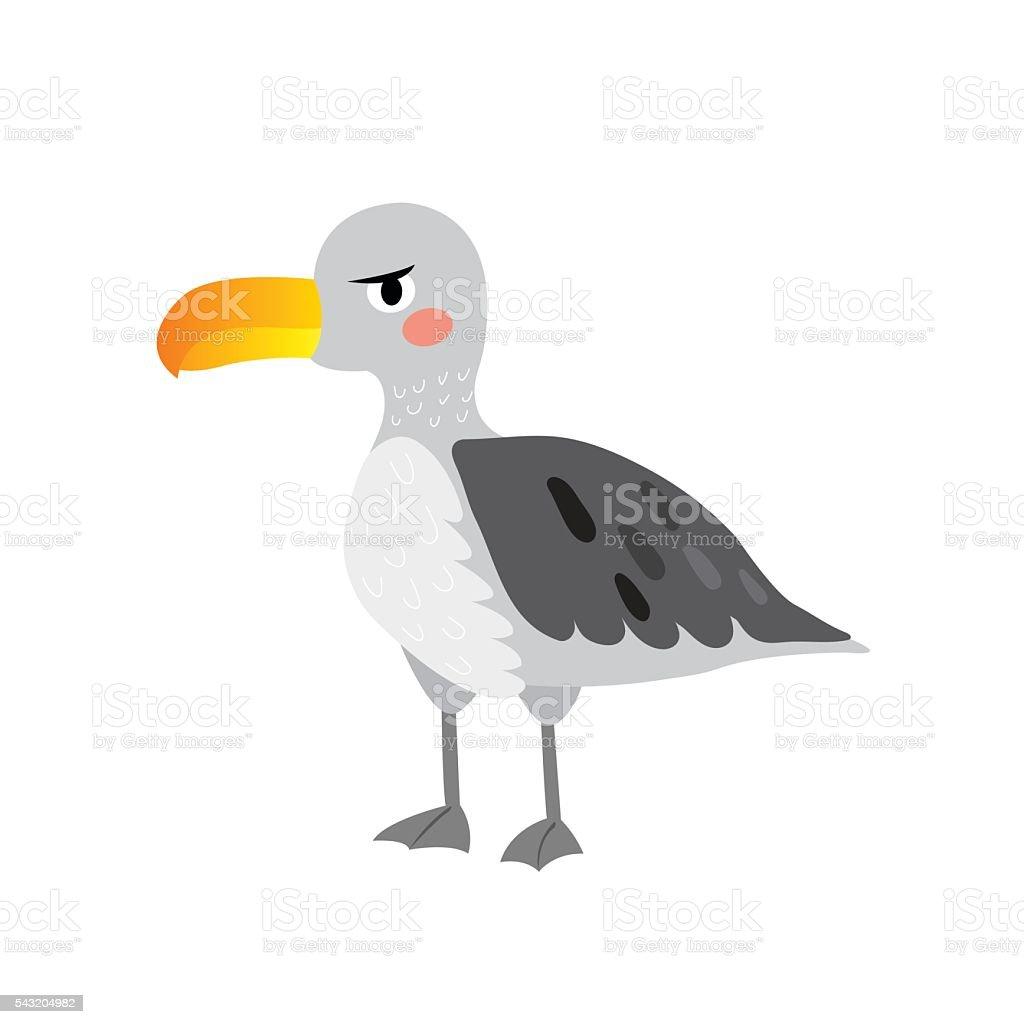 Albatross bird cartoon character. vector art illustration