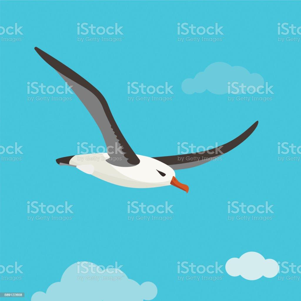 Albatross bird is flying in cloudy sky vector art illustration