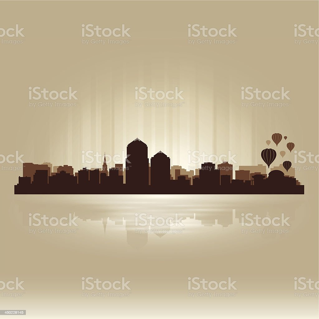 Albuquerque New Mexico brown skyline city silhouette vector art illustration