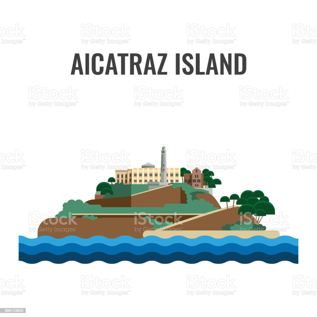 Alcatraz island view from the sea. Vector illustration. vector art illustration