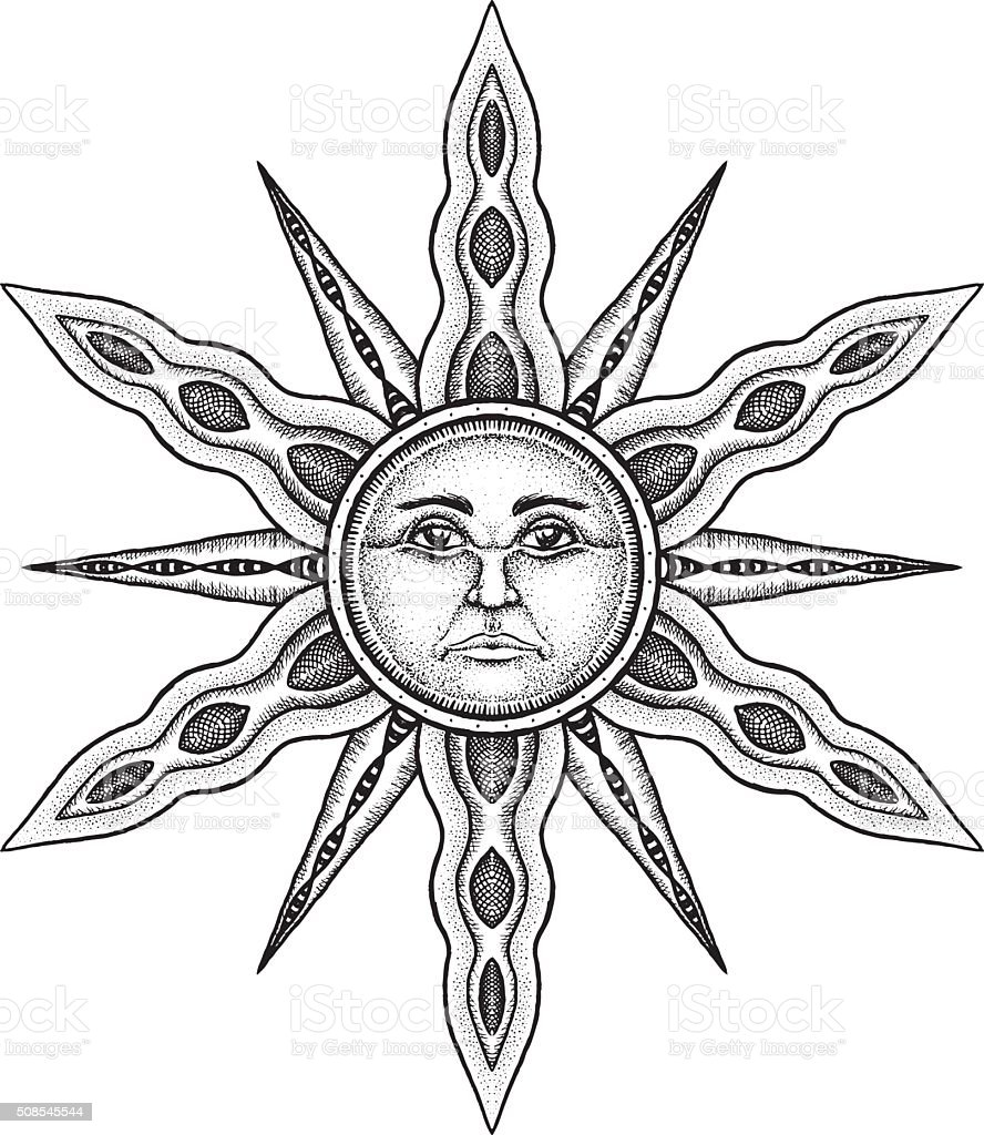 Alchemy Symbol of Sun - Vector Illustration Stylized as Engravin vector art illustration