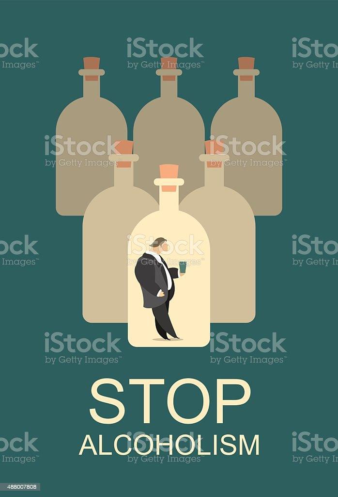 alcohol abuse vector art illustration