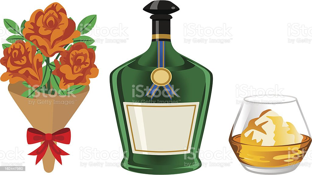 Alcohol and bouquet -Father's Day gift royalty-free stock vector art