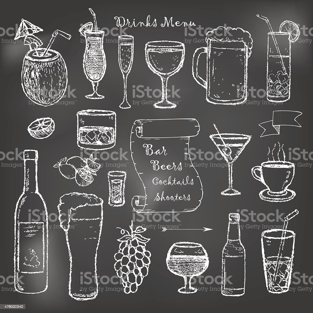 Alcohol and drinks cocktails menu on black board vector art illustration