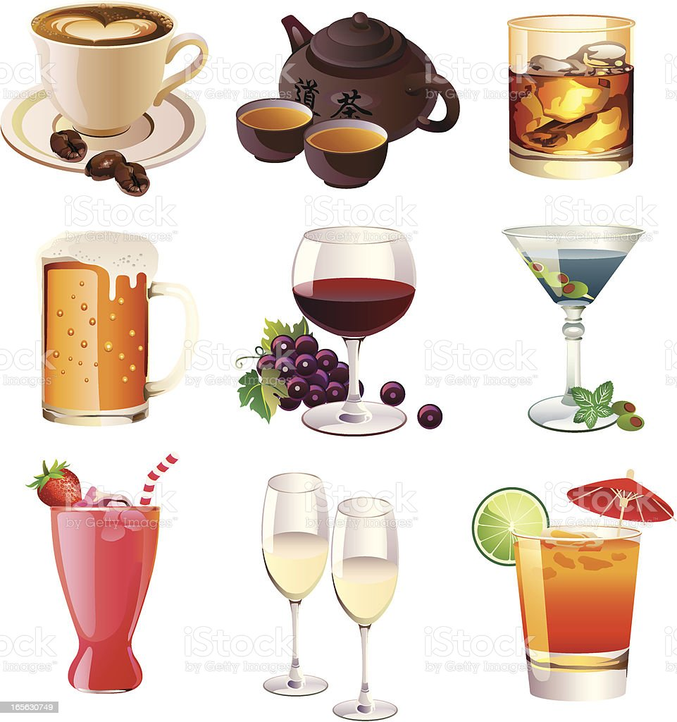 Alcohol and non alcoholic drinks vector art illustration