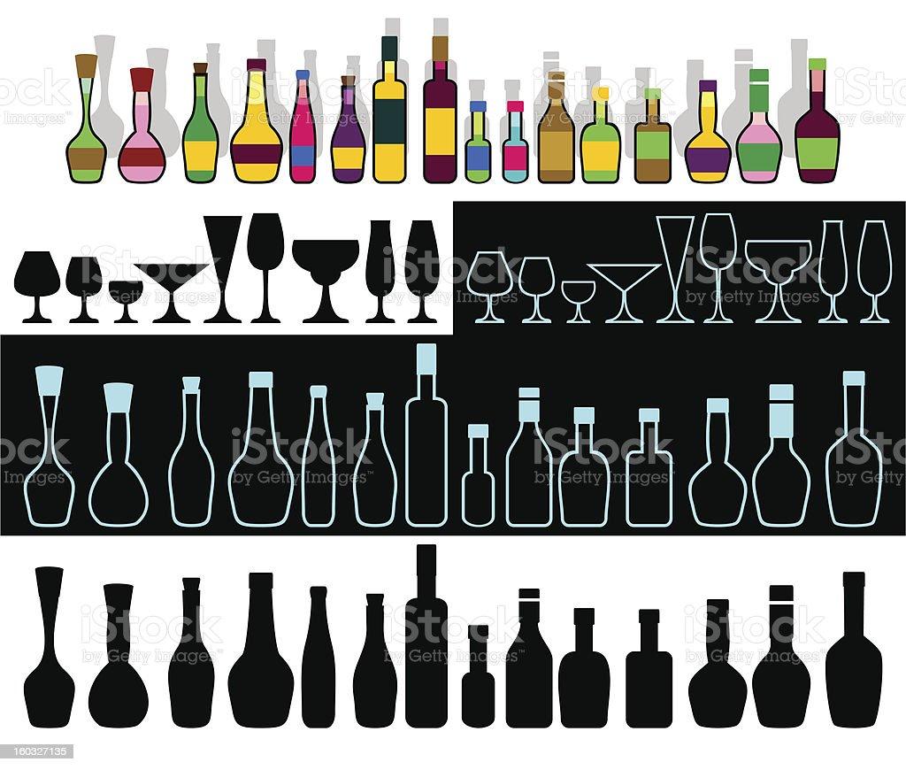 Alcohol assortment. royalty-free stock vector art