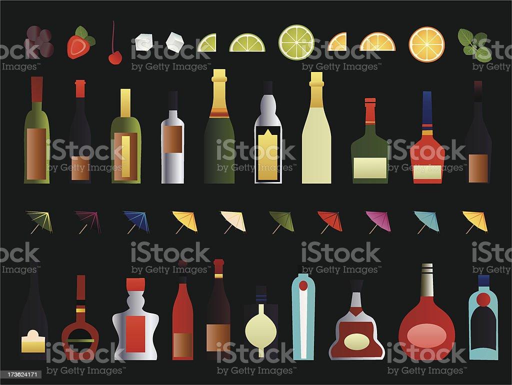 alcohol bar set royalty-free stock vector art