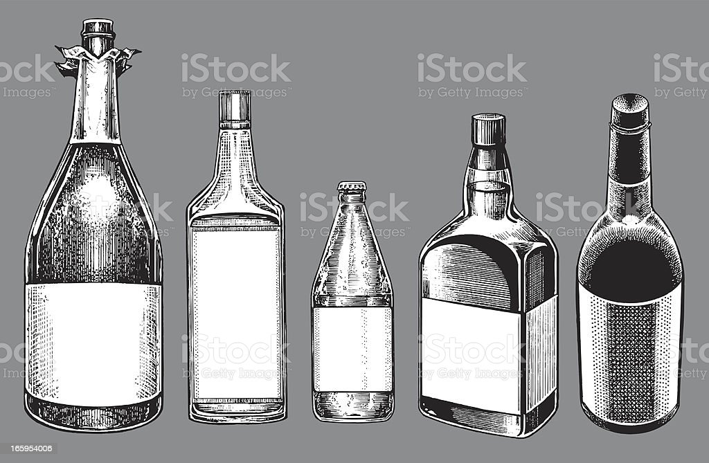 Alcohol Bottles - Champagne, Wine, Beer, Whiskey, Gin vector art illustration