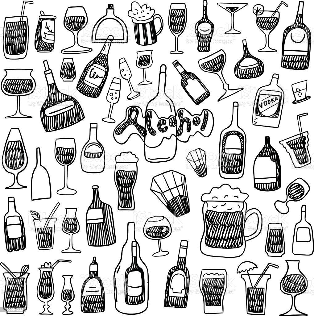 alcohol bottles doodles vector art illustration