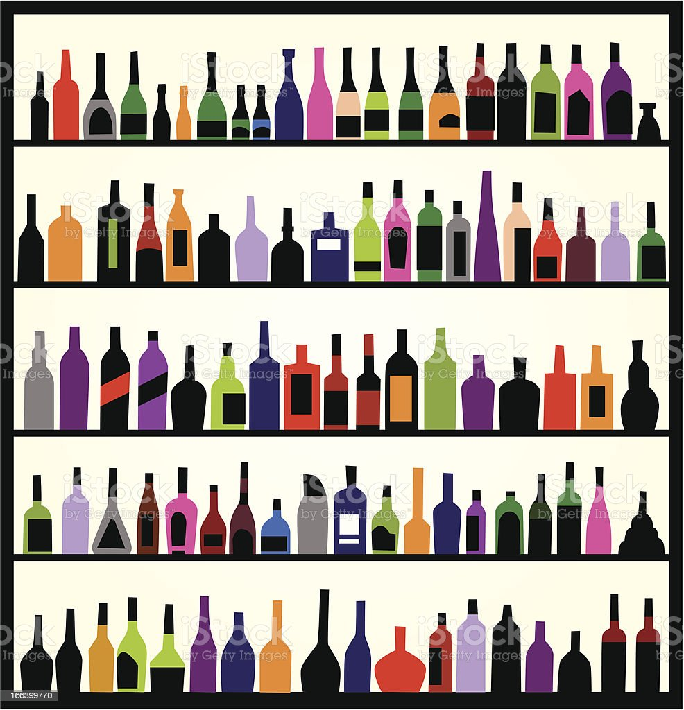 alcohol bottles on the wall vector art illustration