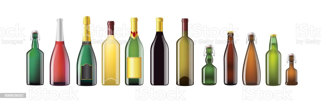Alcohol Bottles - realistic vector set of objects vector art illustration