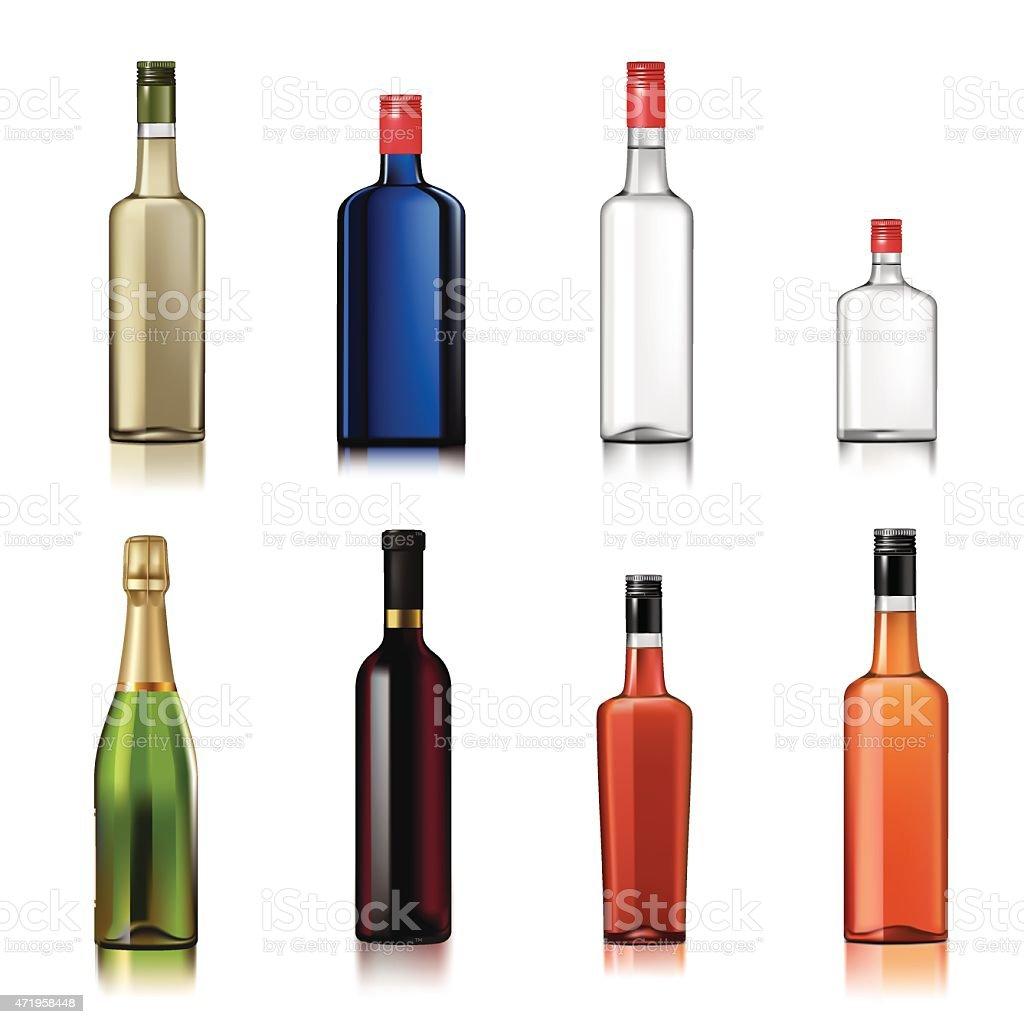 Alcohol bottles vector art illustration