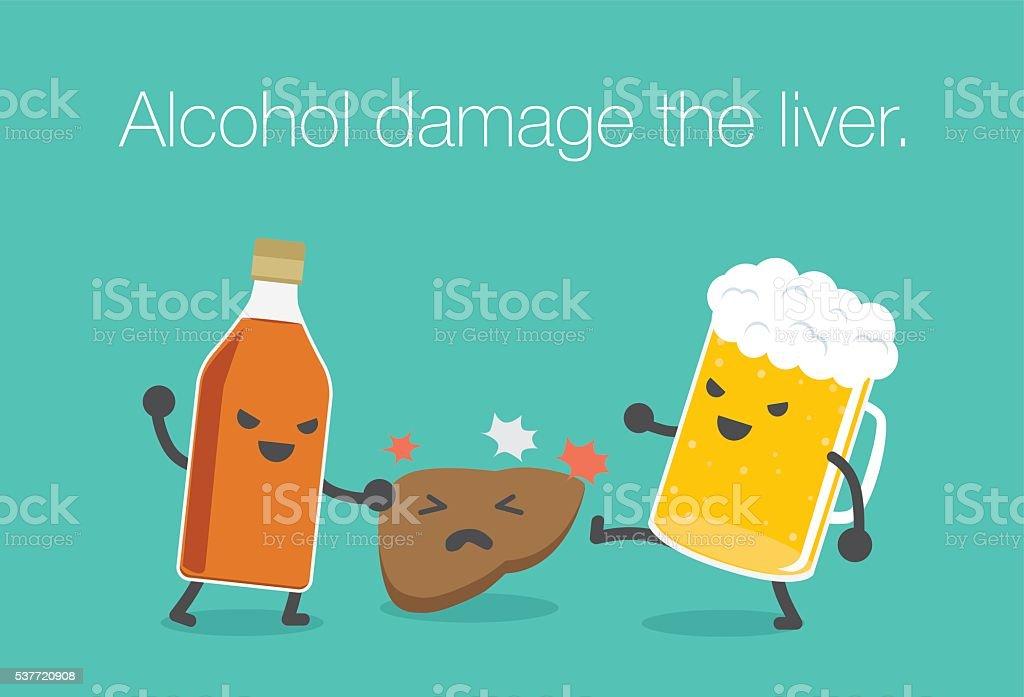Alcohol damage the liver. vector art illustration