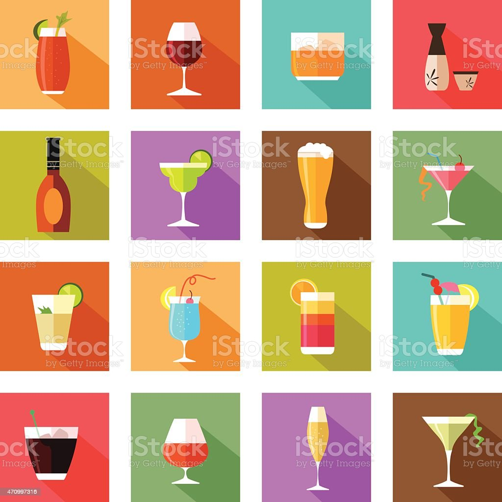 Alcohol drink glasses icons vector art illustration