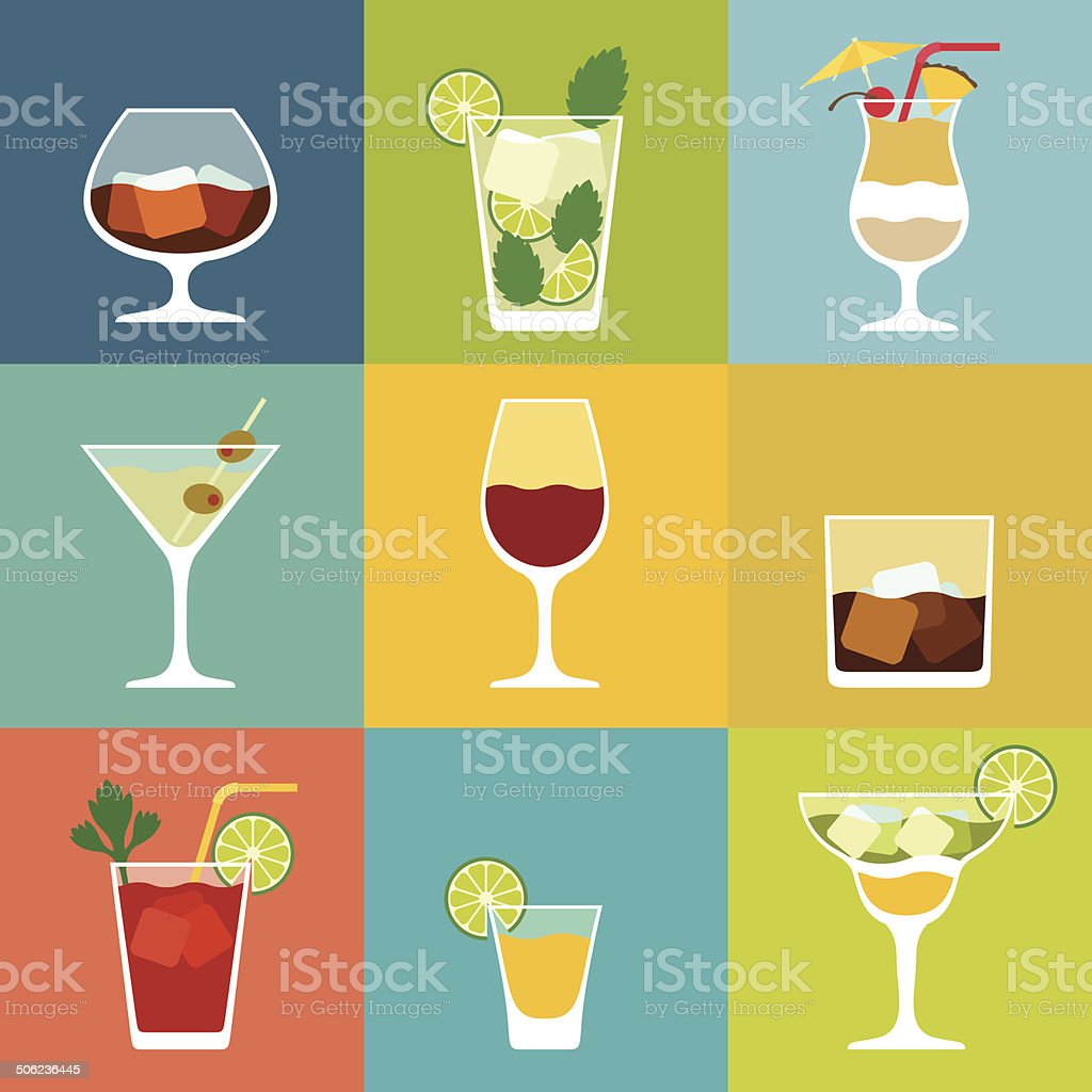 Alcohol drinks and cocktails icon set in flat design style. vector art illustration
