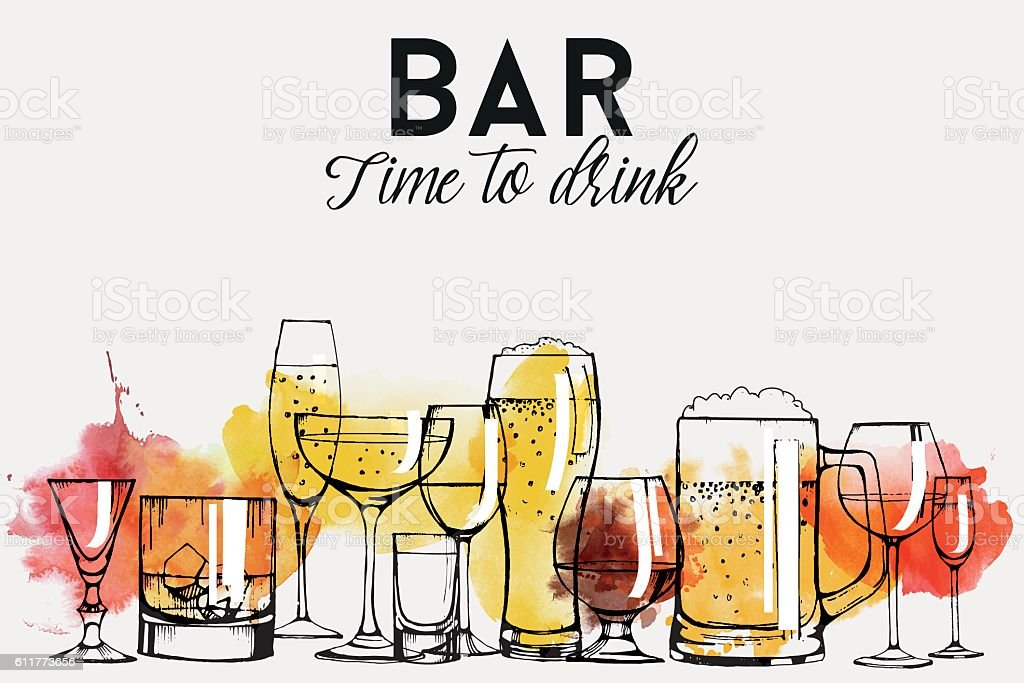 Alcohol drinks flyer design set vector art illustration