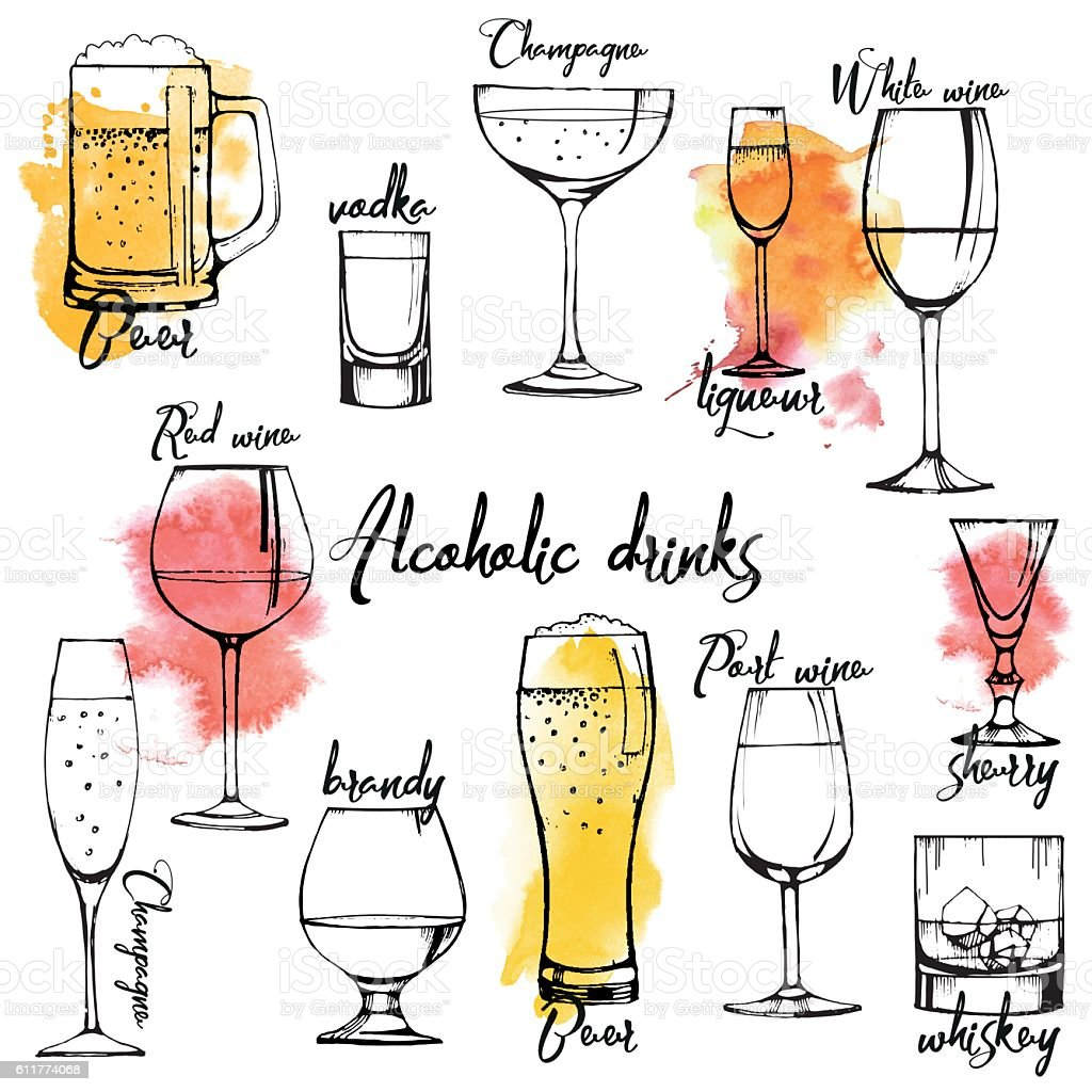 Alcohol drinks flyer design set vector art illustration
