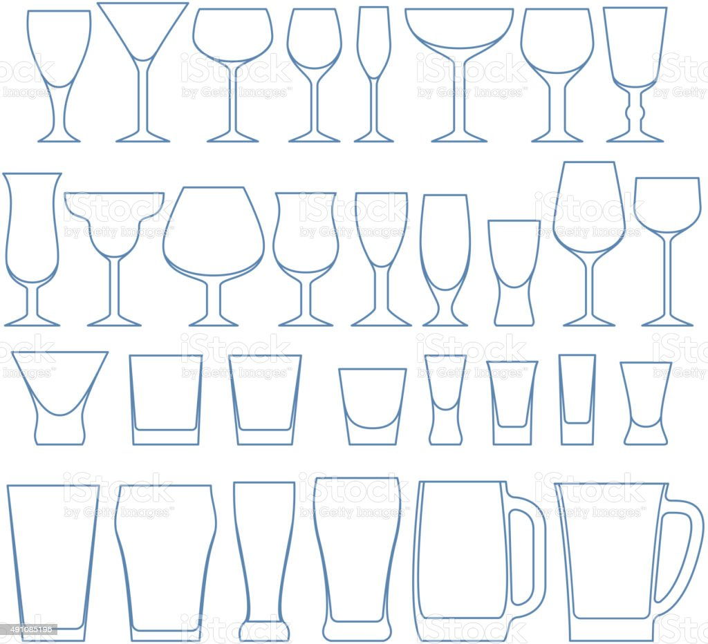 Alcohol drinks glasses set vector illustration vector art illustration