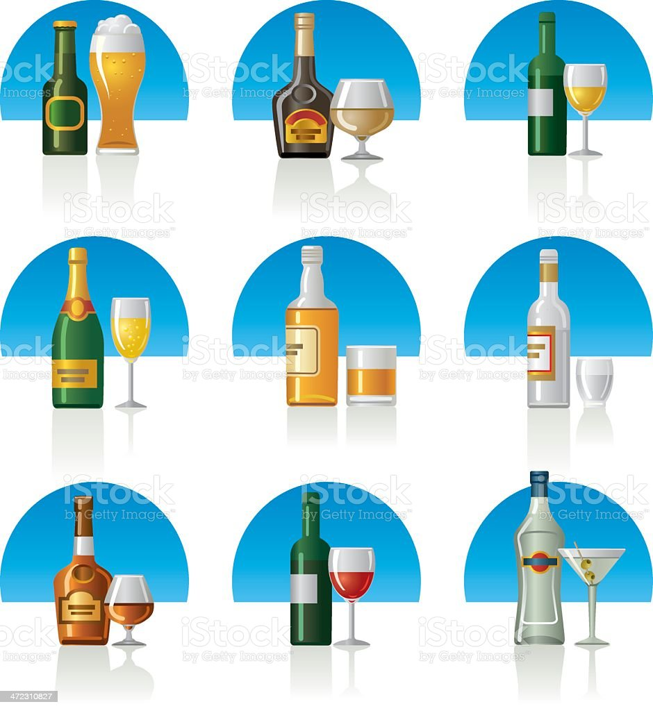 alcohol drinks icon set royalty-free stock vector art