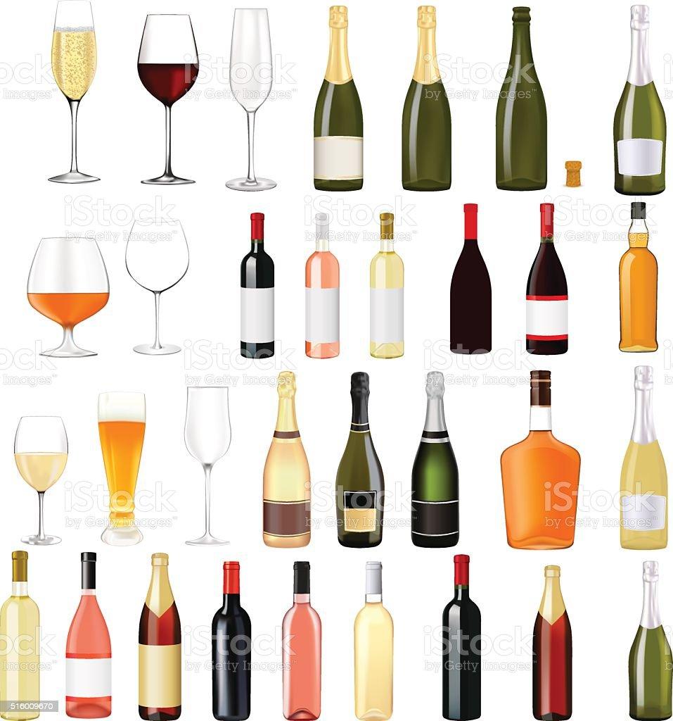Alcohol drinks in bottles and glasses vector art illustration