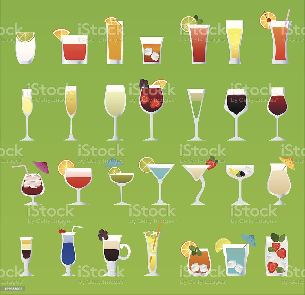 alcohol glass set royalty-free stock vector art