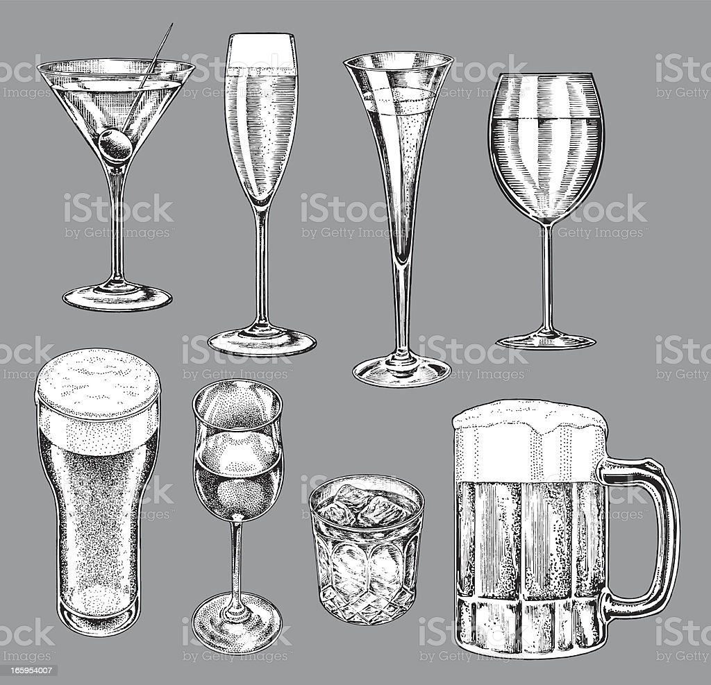 Alcohol Glasses - Beer, Wine, Champagne, Martini royalty-free stock vector art