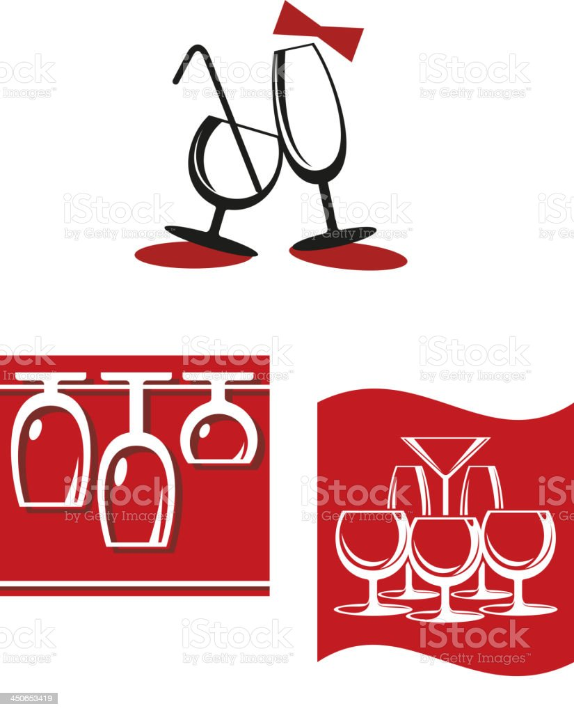 Alcohol glasses for bar menu design royalty-free stock vector art