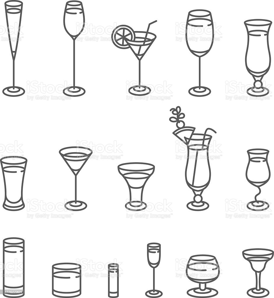 Alcohol glasses. Icon Set. vector art illustration