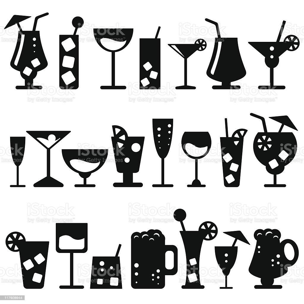 Alcohol Glasses (vector) vector art illustration