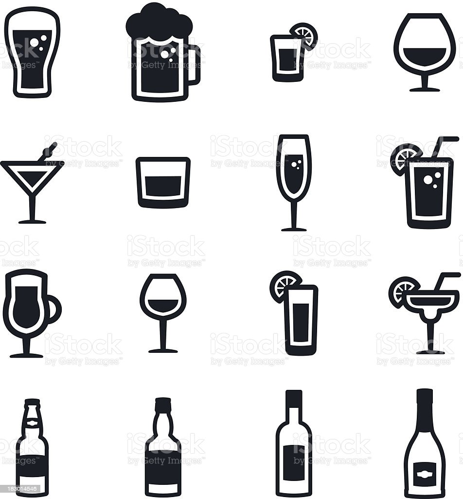 Alcohol Icons vector art illustration