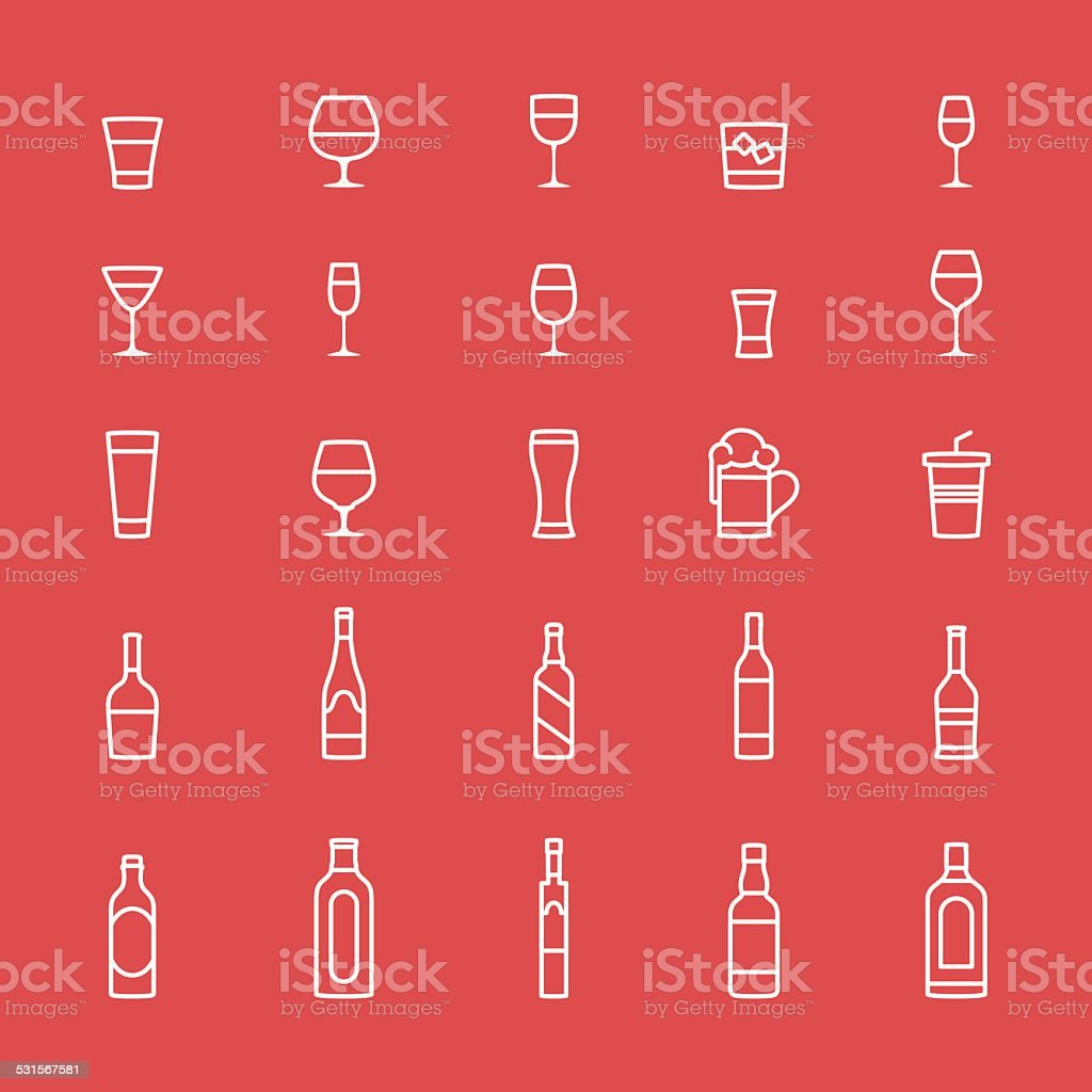 Alcohol Icons vector art illustration