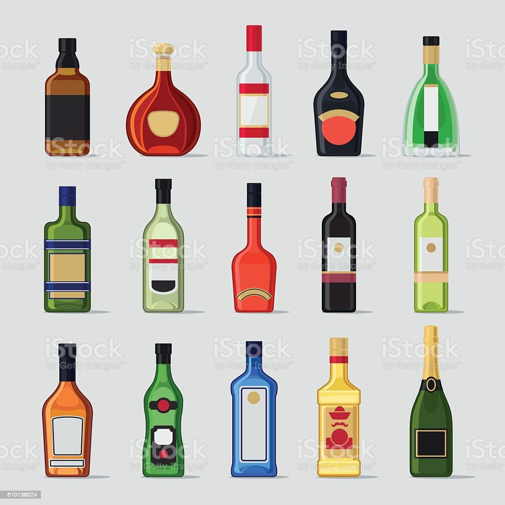 Alcohol in a bottle flat icons vector art illustration